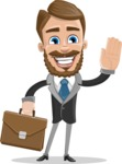 Elegant Businessman Cartoon Vector Character AKA Matt Charismatic - Brifcase 2