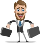 Elegant Businessman Cartoon Vector Character AKA Matt Charismatic - Brifcase 3