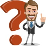 Elegant Businessman Cartoon Vector Character AKA Matt Charismatic - Question