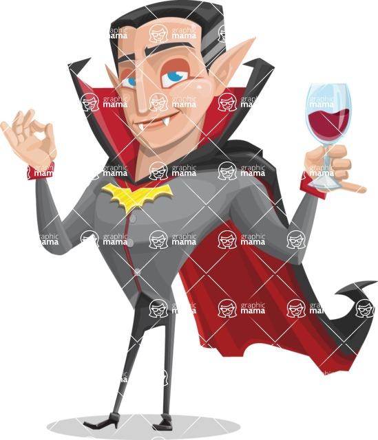 Funny Vampire Man Vector Cartoon Character - At Night Drinking Glass of Wine