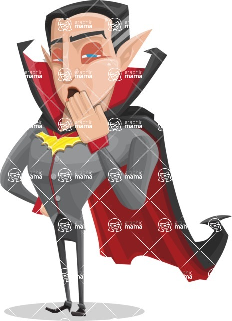 Funny Vampire Man Vector Cartoon Character - Being Bored
