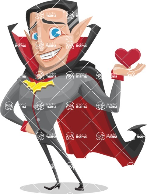 Funny Vampire Man Vector Cartoon Character - Being Cute with Love Heart