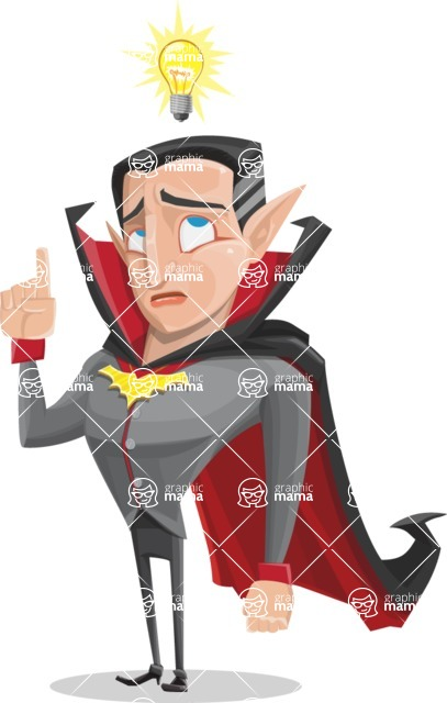 Funny Vampire Man Vector Cartoon Character - Being Smart with an Idea
