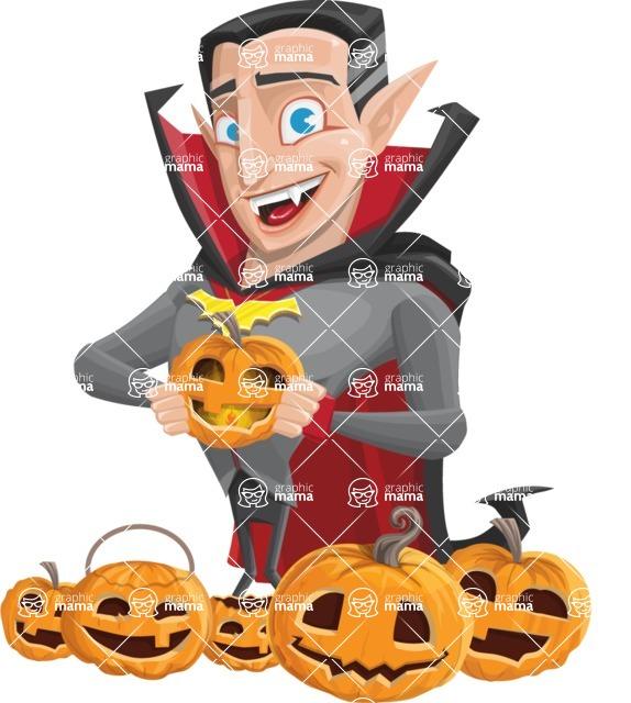Funny Vampire Man Vector Cartoon Character - Celebrating Halloween With Pumpkins