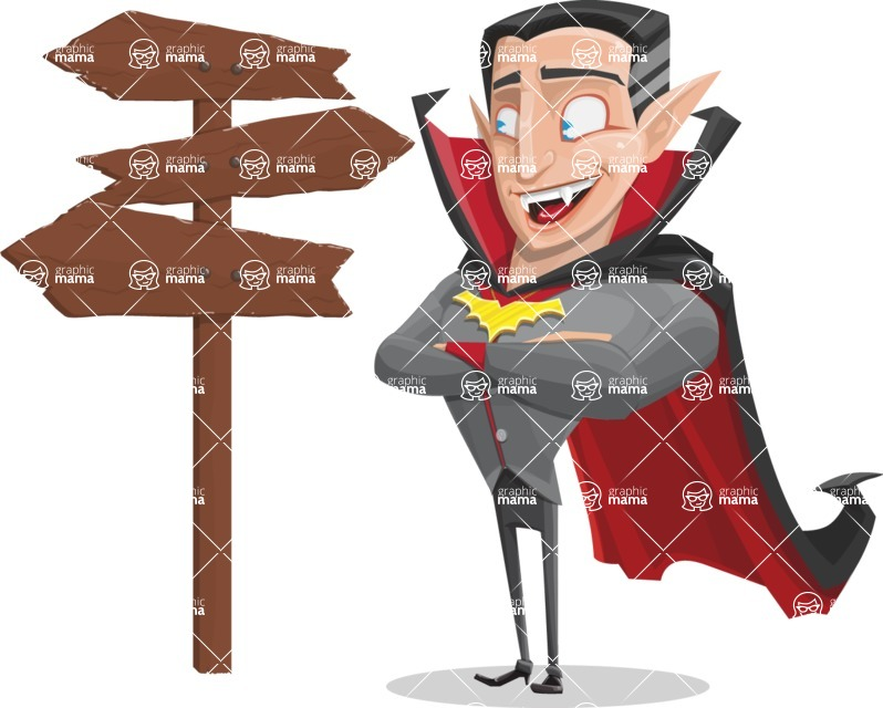 Funny Vampire Man Vector Cartoon Character - Choosing a Way To Go
