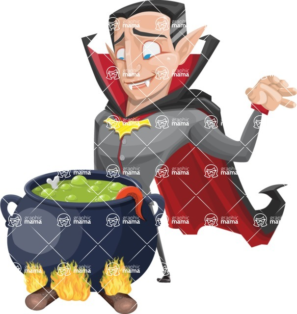 Funny Vampire Man Vector Cartoon Character - Cooking in a Caldron
