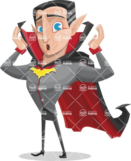 Funny Vampire Man Vector Cartoon Character - Feeling Shocked