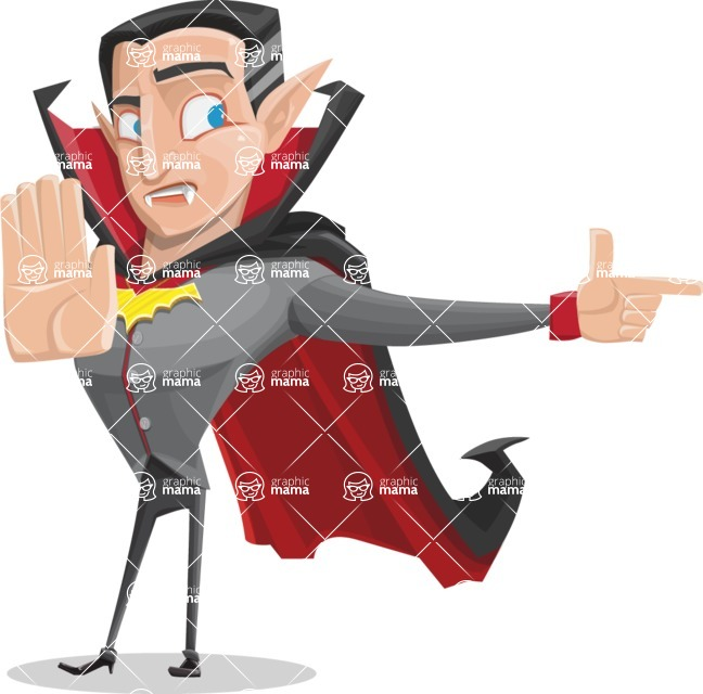 Funny Vampire Man Vector Cartoon Character - Finger Pointing with Angry Face