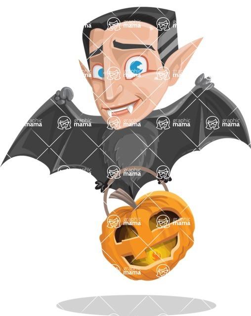 Funny Vampire Man Vector Cartoon Character - Flying As a Bat
