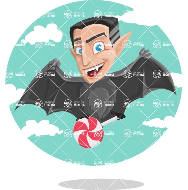Funny Vampire Man Vector Cartoon Character - Flying with Sky Background