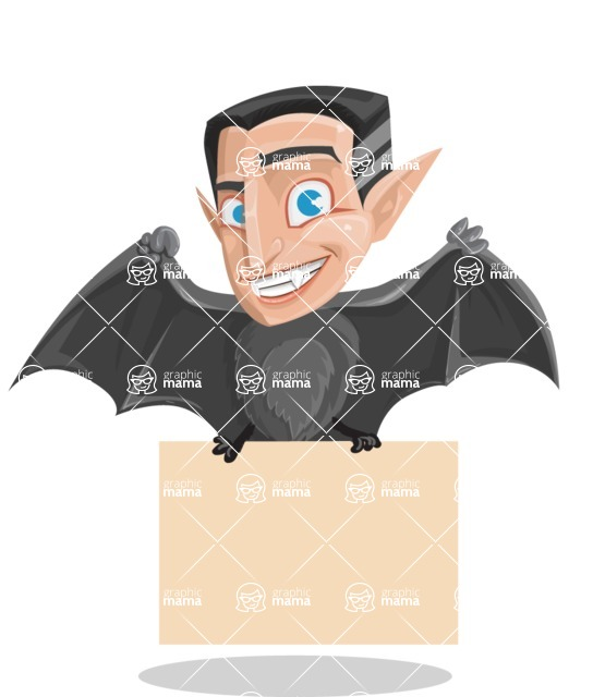 Funny Vampire Man Vector Cartoon Character - Holding a Blank Halloween Sign