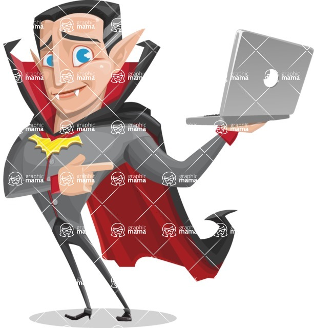 Funny Vampire Man Vector Cartoon Character - Holding a Laptop