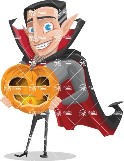 Funny Vampire Man Vector Cartoon Character - Holding a Pumpkin Lantern