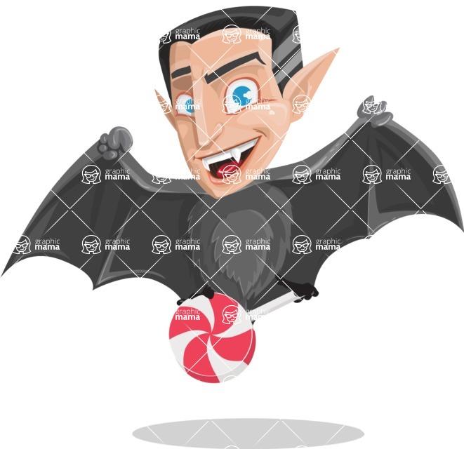 Funny Vampire Man Vector Cartoon Character - Holding a Treat
