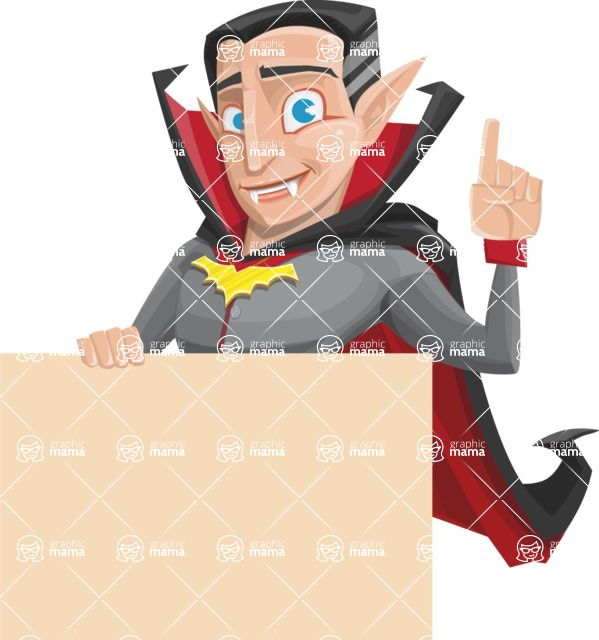 Funny Vampire Man Vector Cartoon Character - Holding Blank Presentation Sign and Making a Point