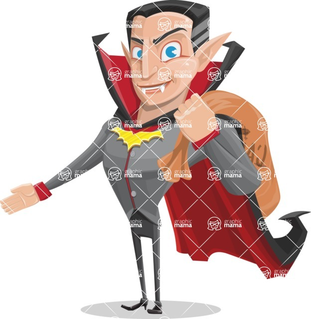Funny Vampire Man Vector Cartoon Character - Holding Sack with Candies