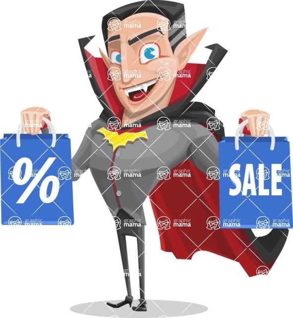 Funny Vampire Man Vector Cartoon Character - Holding Shopping Bags