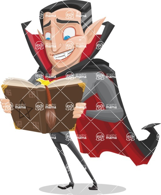 Funny Vampire Man Vector Cartoon Character - Making a Curse with a Book