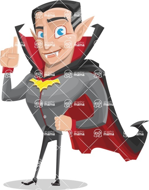Funny Vampire Man Vector Cartoon Character - Making a Point