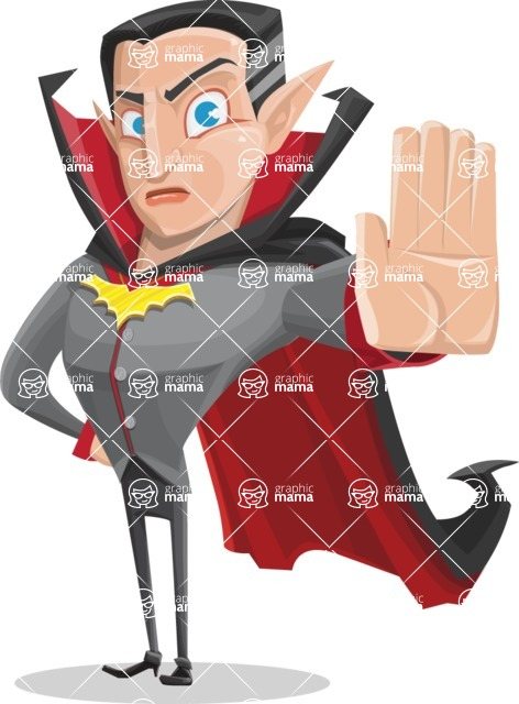 Funny Vampire Man Vector Cartoon Character - Making Stop Sign