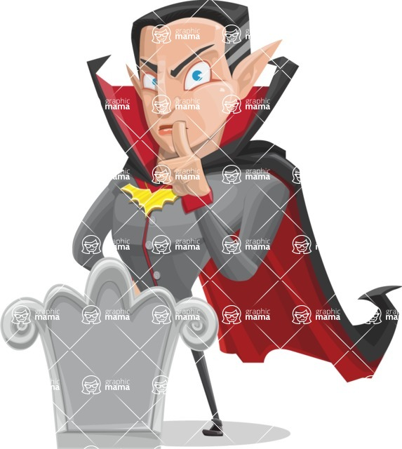 Funny Vampire Man Vector Cartoon Character - On a Grave