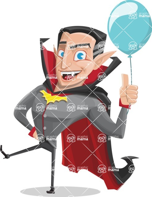 Funny Vampire Man Vector Cartoon Character - On a Party with a Balloon