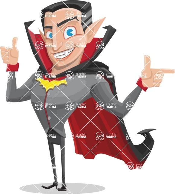 Funny Vampire Man Vector Cartoon Character - Pointing and Making Thumbs Up