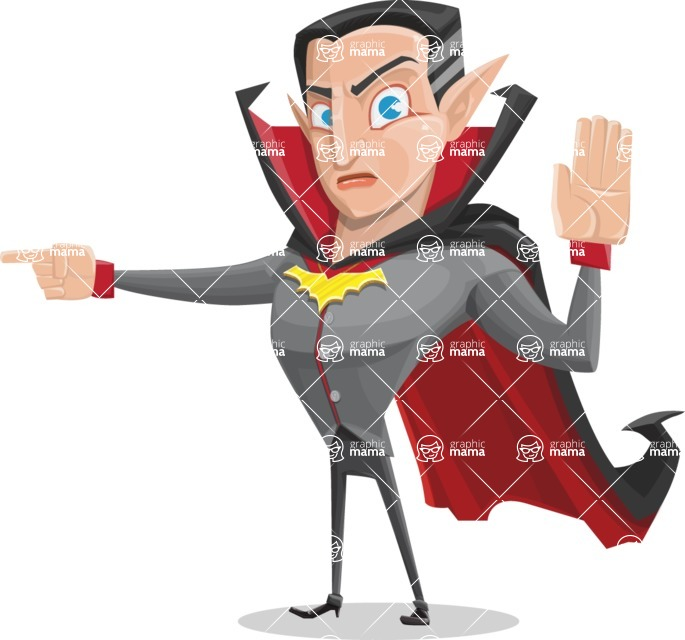 Funny Vampire Man Vector Cartoon Character - Pointing with a Finger
