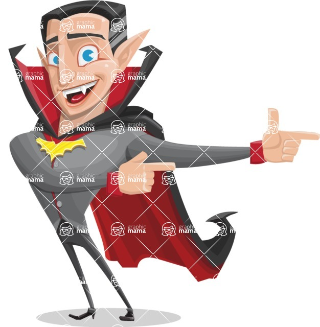 Funny Vampire Man Vector Cartoon Character - Pointing with Hands
