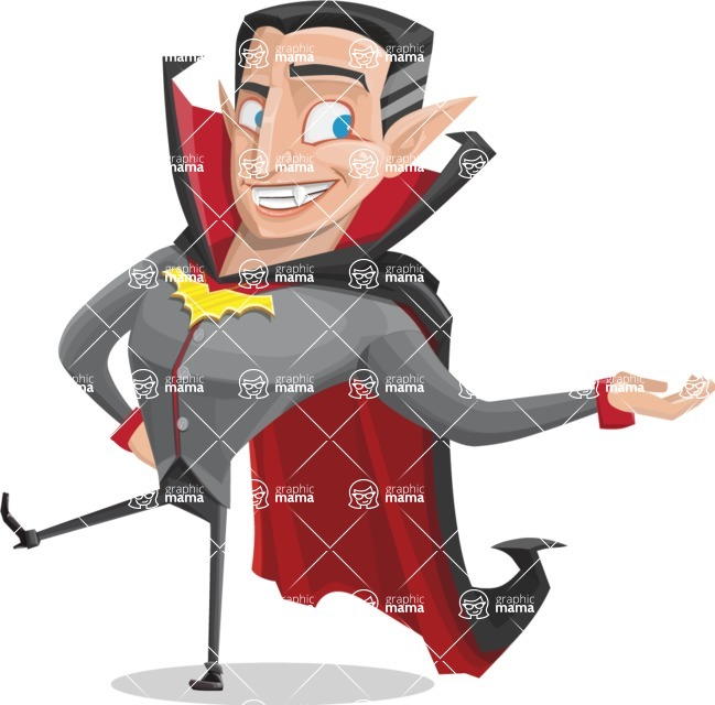 Funny Vampire Man Vector Cartoon Character - Presenting