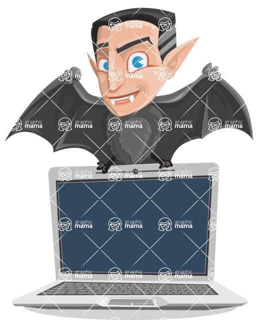 Funny Vampire Man Vector Cartoon Character - Showing a Laptop