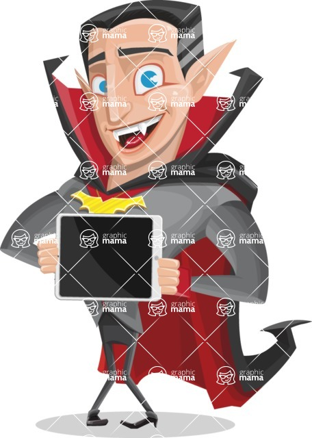 Funny Vampire Man Vector Cartoon Character - Showing on a Blank Tablet