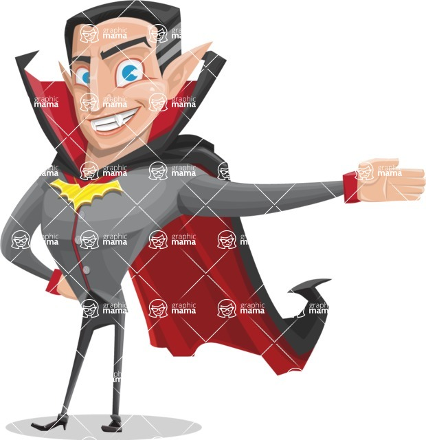 Funny Vampire Man Vector Cartoon Character - Showing with a Hand