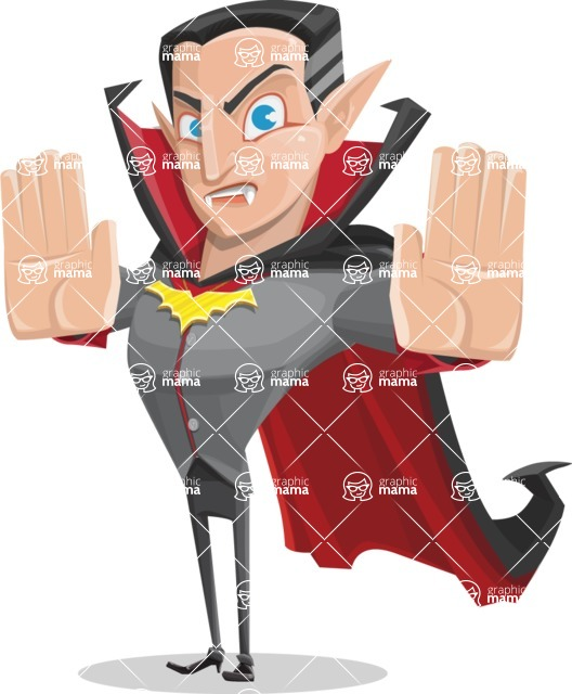 Funny Vampire Man Vector Cartoon Character - Stopping with Hands