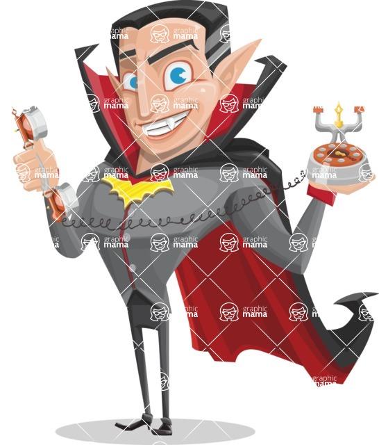 Funny Vampire Man Vector Cartoon Character - Talking on Phone