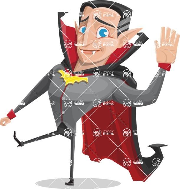 Funny Vampire Man Vector Cartoon Character - Waving