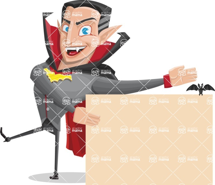 Funny Vampire Man Vector Cartoon Character - With a Blank Halloween Sign with a Bat