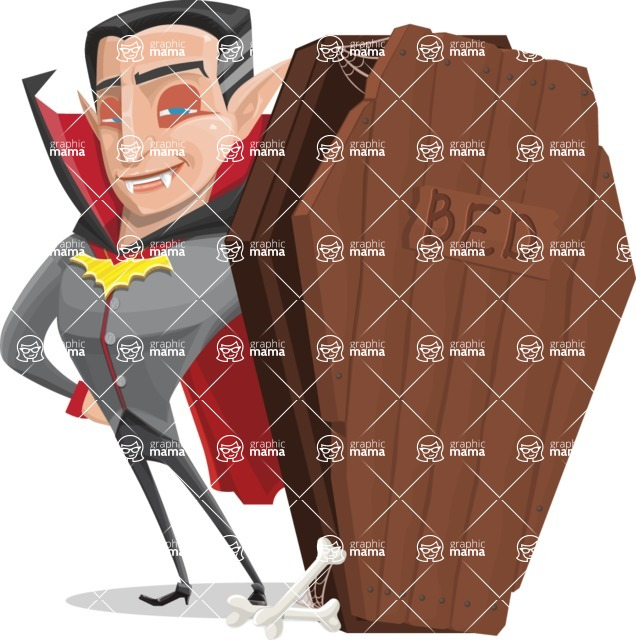Funny Vampire Man Vector Cartoon Character - With a Coffin as Bed