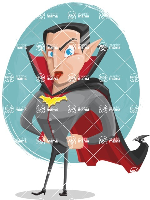 Funny Vampire Man Vector Cartoon Character - With a Colorful Background