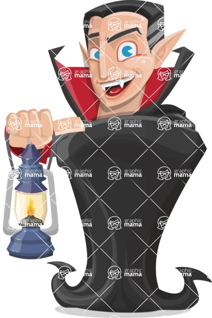 Funny Vampire Man Vector Cartoon Character - With a Lantern