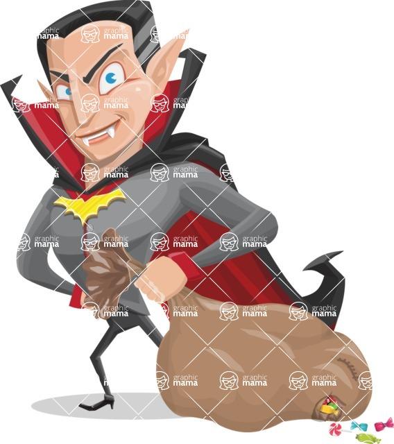 Funny Vampire Man Vector Cartoon Character - With a lot of Halloween Treats