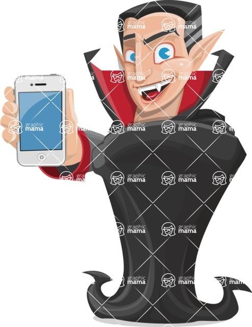 Funny Vampire Man Vector Cartoon Character - With a Phone