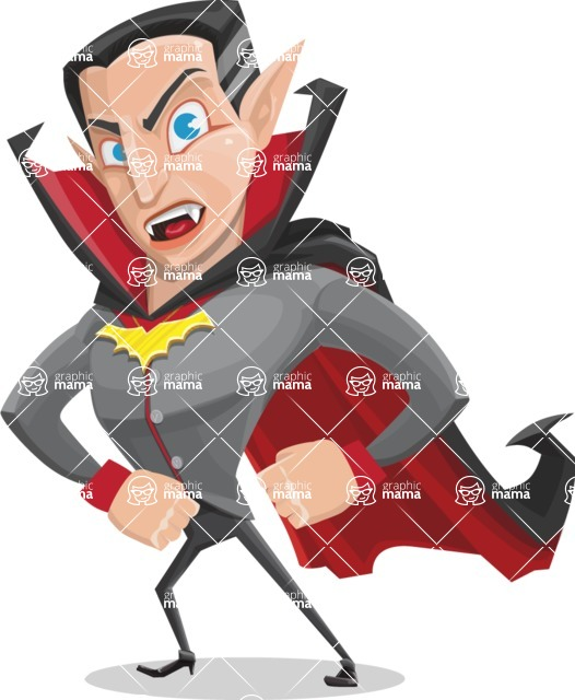 Funny Vampire Man Vector Cartoon Character - With Angry Face