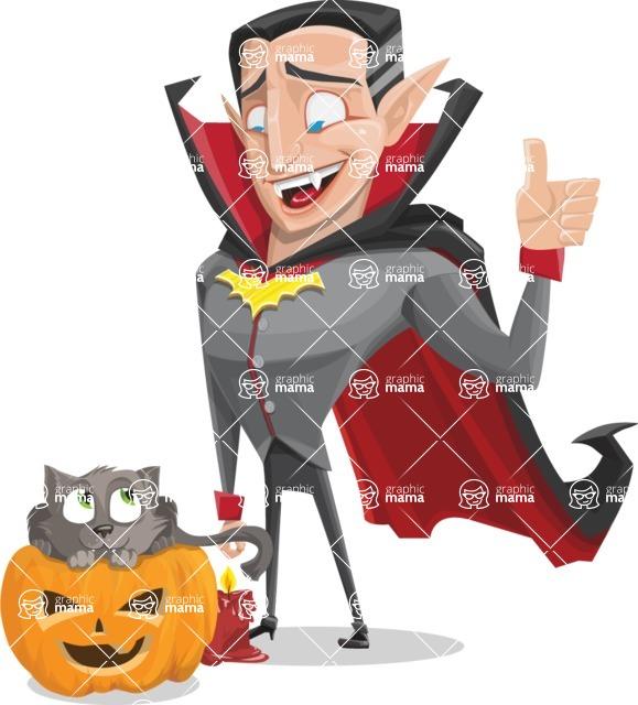 Funny Vampire Man Vector Cartoon Character - With Cat