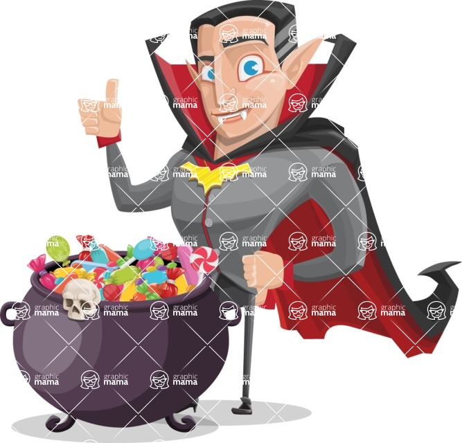 Funny Vampire Man Vector Cartoon Character - with Cauldron full of Sweets
