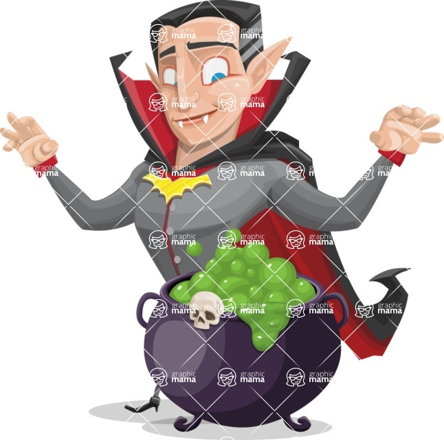 Funny Vampire Man Vector Cartoon Character - With Halloween Caldron