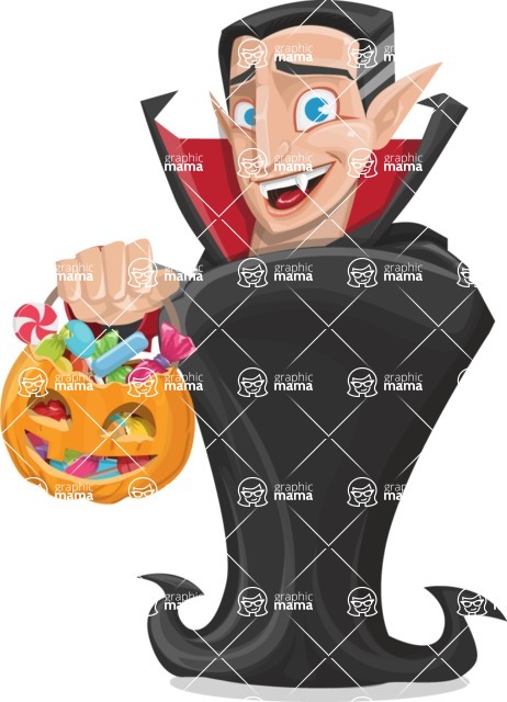 Funny Vampire Man Vector Cartoon Character - with Halloween Pumpkin and Candies