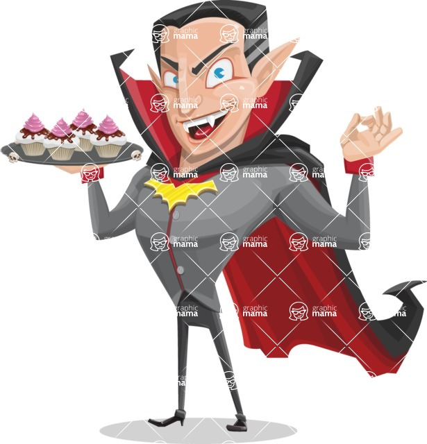 Funny Vampire Man Vector Cartoon Character - With Halloween Sweets