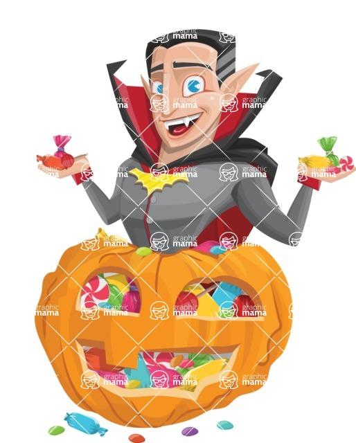 Funny Vampire Man Vector Cartoon Character - With Huge Pumpkin full of Treats