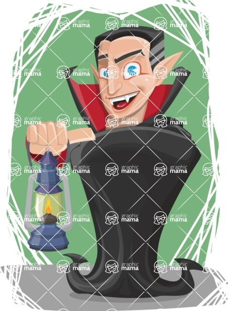 Funny Vampire Man Vector Cartoon Character - With Lantern on a Flat Halloween Background